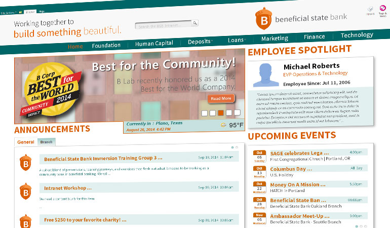 Beneficial State Bank Intranet Image